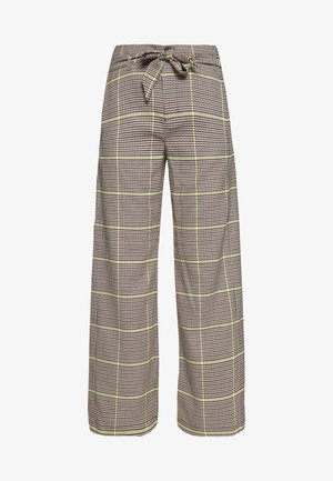WIDE LEG BELTED PANTS - Trousers - yellow