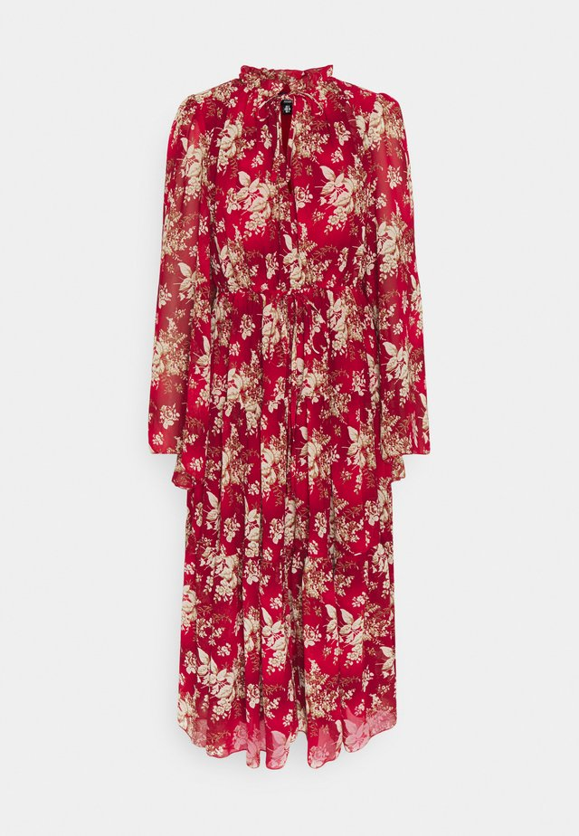 KEYHOLE FRILL MAXI DRESS FLORAL - Day dress - red