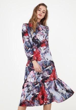 PAOLINA - Day dress - dunkelgrau/ weinrot