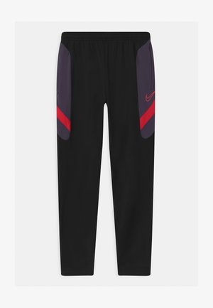 DRY ACADEMY - Tracksuit bottoms - black/dark raisin/siren red