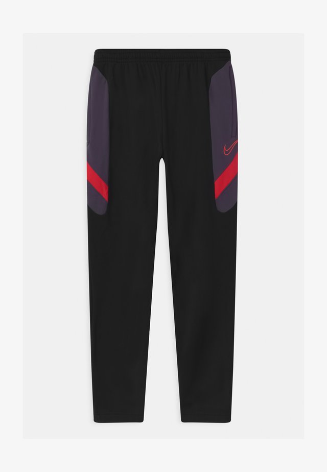 DRY ACADEMY - Trainingsbroek - black/dark raisin/siren red