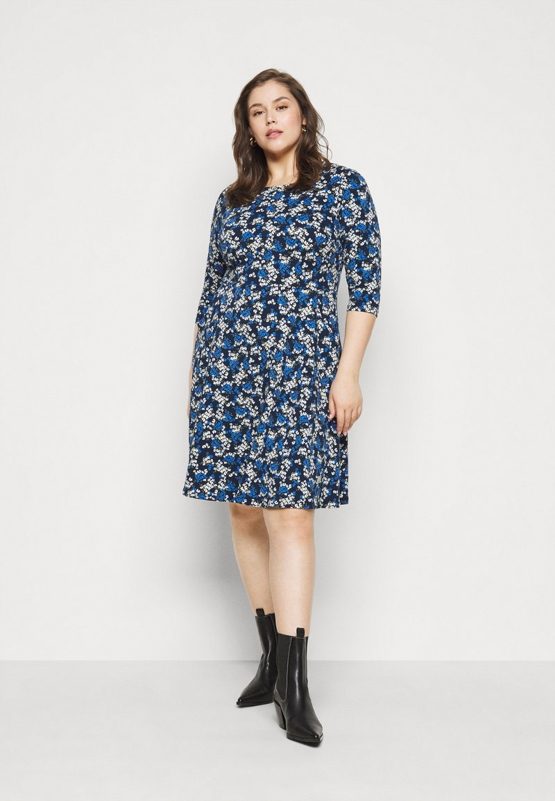 Dorothy Perkins Curve - CURVE LONG SLEEVE DITSY PRINT FIT AND FLARE  - Day dress - navy