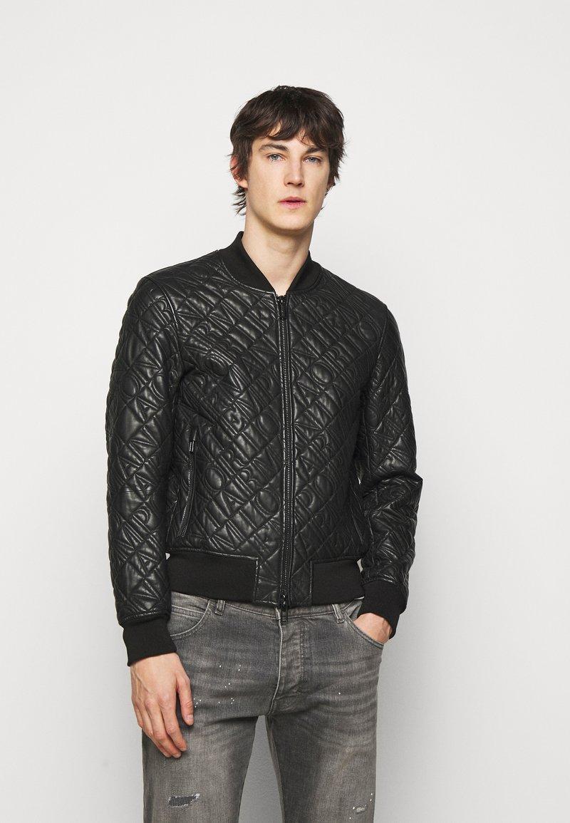 Emporio Armani - BLOUSON JACKET - Kožená bunda - black