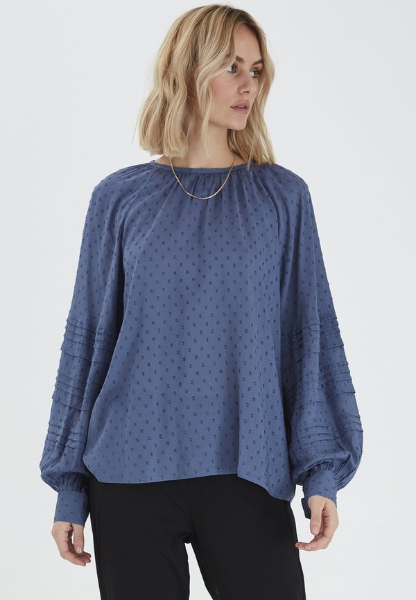 PULZ MAISE PREMIUM - Bluzka - vintage indigo/niebieski MESU