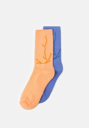 SIGNATURE SOCKS 2 PACK UNISEX - Calcetines - blue/light orange