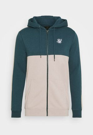 CUT AND SEW ZIPTHROUGH HOODIE - Mikina na zip - ocean green/cream