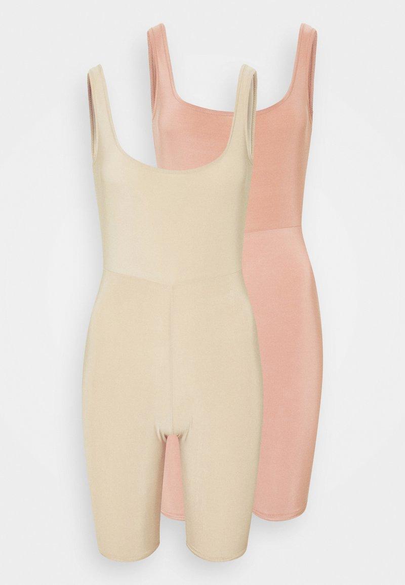 Missguided Petite - SLINKY SCOOP NECK UNITARD 2 PACK - Tuta jumpsuit - blush/sand