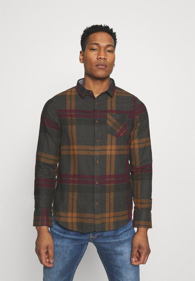 WARLOCK - Shirt - light grey/rust/black/oxblood