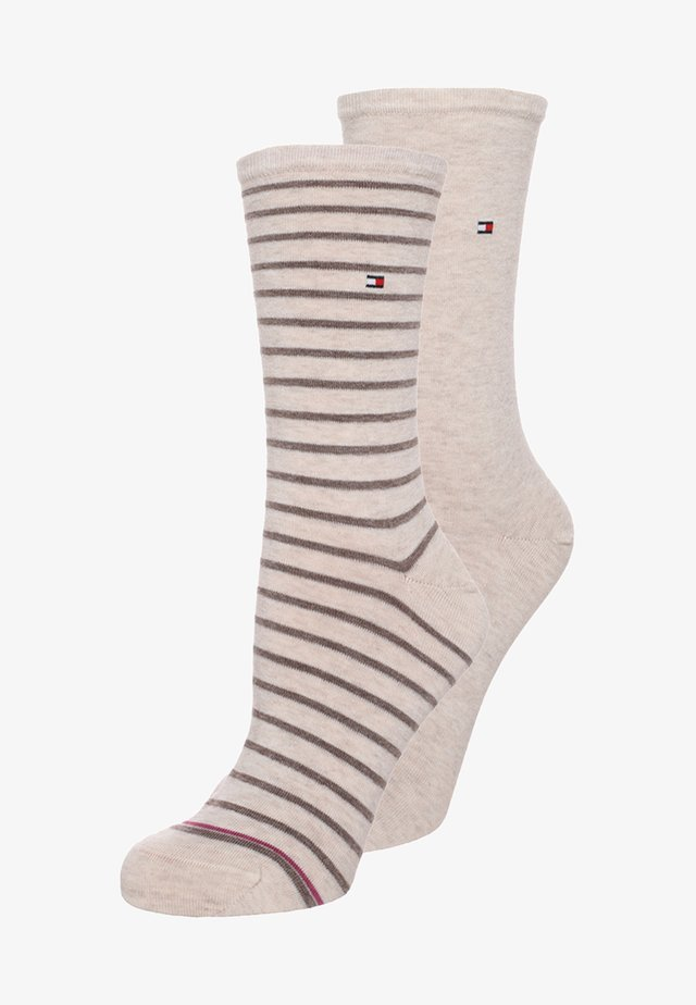 WOMEN SMALL STRIPE 2 PACK - Skarpety - light beige melange