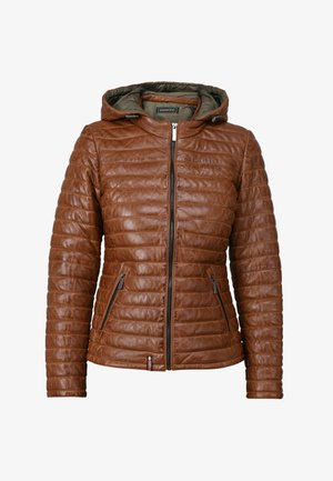 POWER - Leather jacket - cognac color