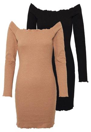 LETTUCE MINI DRESS 2 PACK  - Robe fourreau - camel/black