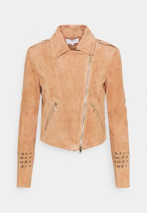 JACKET - Leather jacket - beige