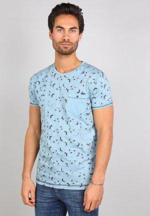 Print T-shirt - pebble blue