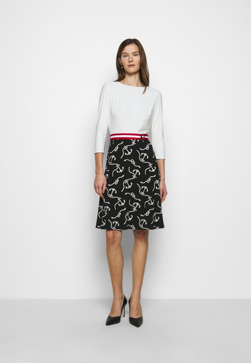 Lauren Ralph Lauren - PRINTED MATTE DRESS BELT - Day dress - black/col cream