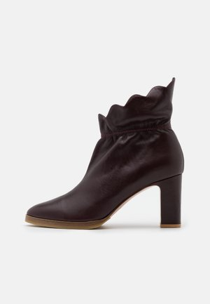 Kotníková obuv na vysokém podpatku - aubergine