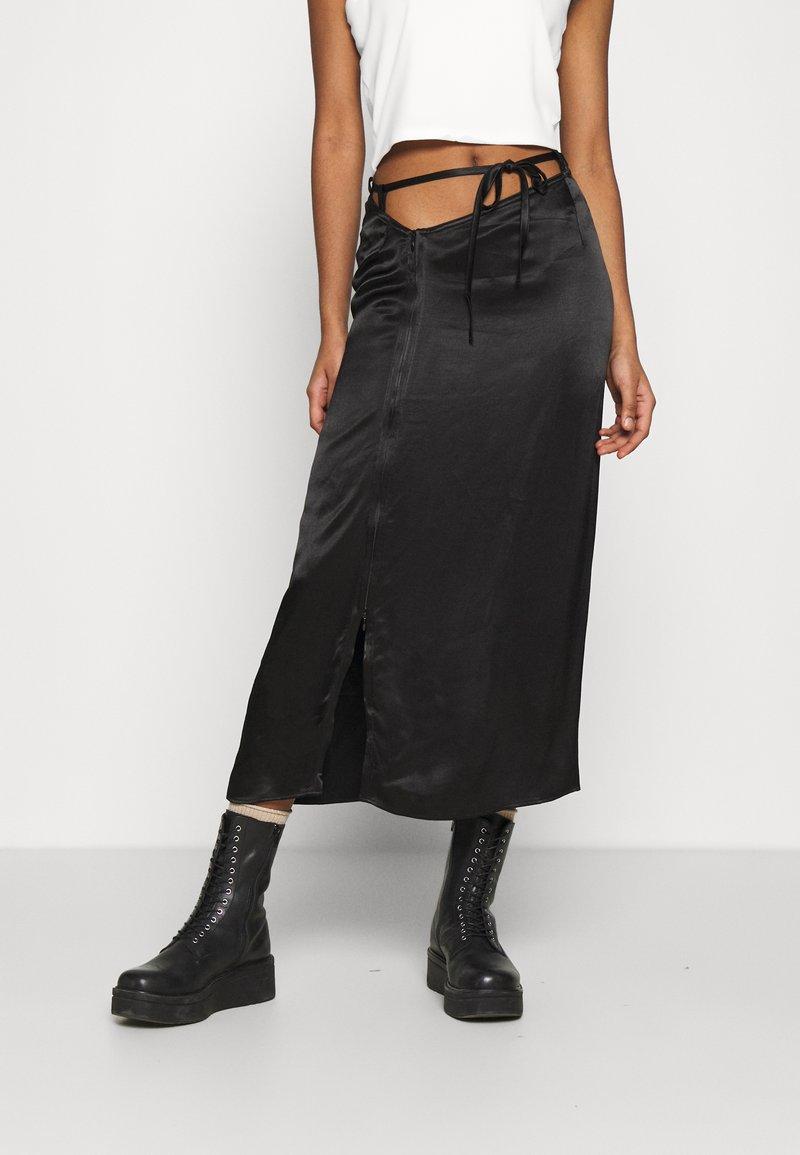 Weekday - TYRA SKIRT - A-line skirt - black