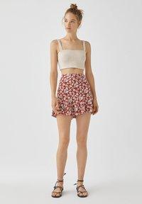 PULL&BEAR - MIT BLUMENPRINT - A-line skirt - light brown - 1