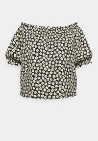 CAPSULE by Simply Be - OFF THE SHOULDER DAISY - Print T-shirt - black - 6