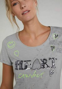 Oui - Print T-shirt - light grey - 3