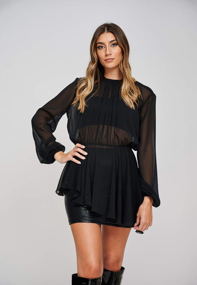 THE SARA GATHERED CHIFFON ASYMMETRIC  - Blouse - black