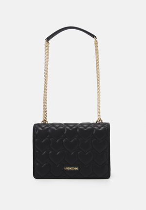 HEART QUILTED SHOULDER BAG - Across body bag - nero
