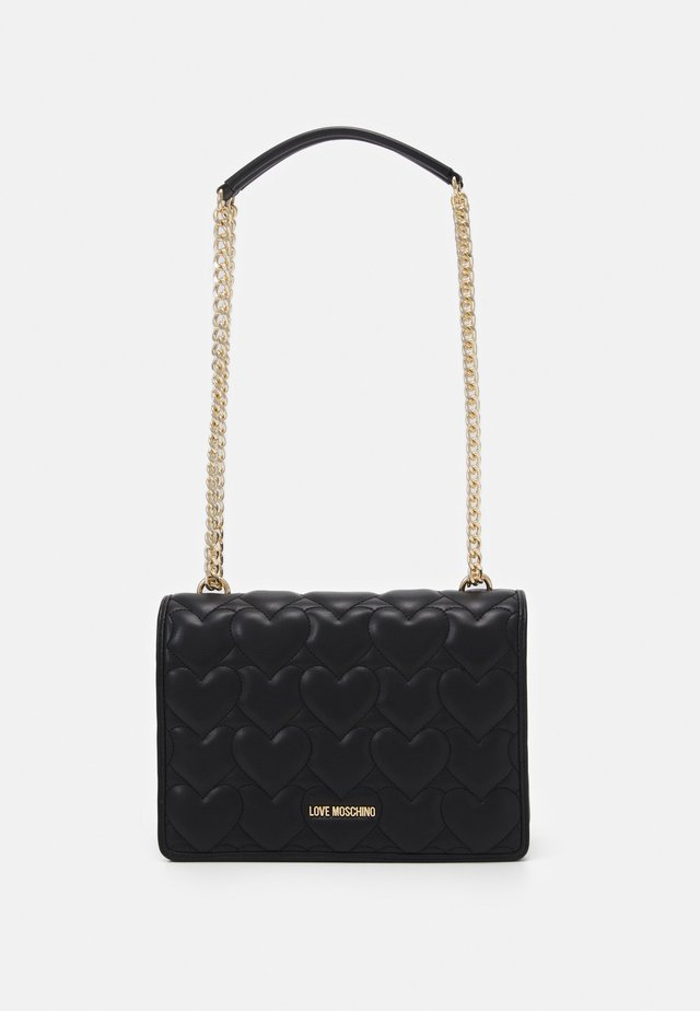 HEART QUILTED SHOULDER BAG - Borsa a tracolla - nero