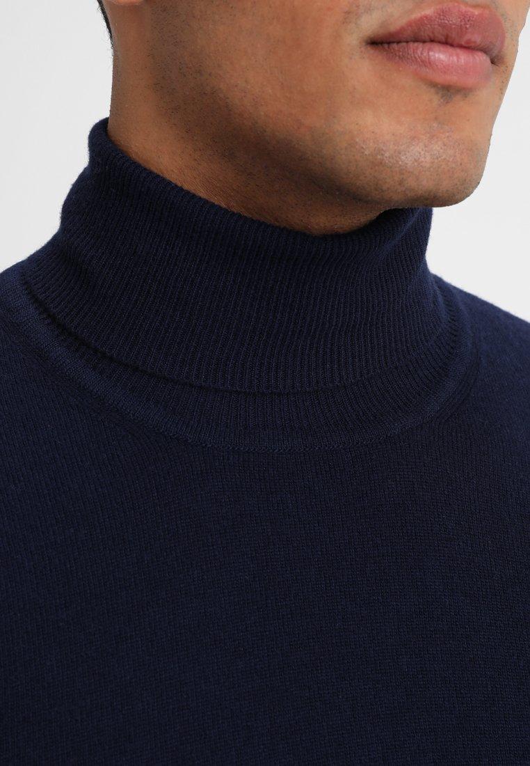 Benetton Basic Roll Neck - Strikkegenser Navy/mørkeblå