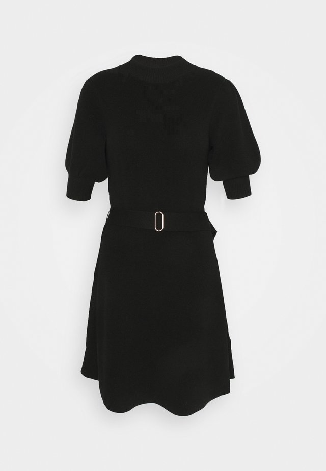 LOUISA SHORT PUFF SLEEVE DRESS - Pletené šaty - black