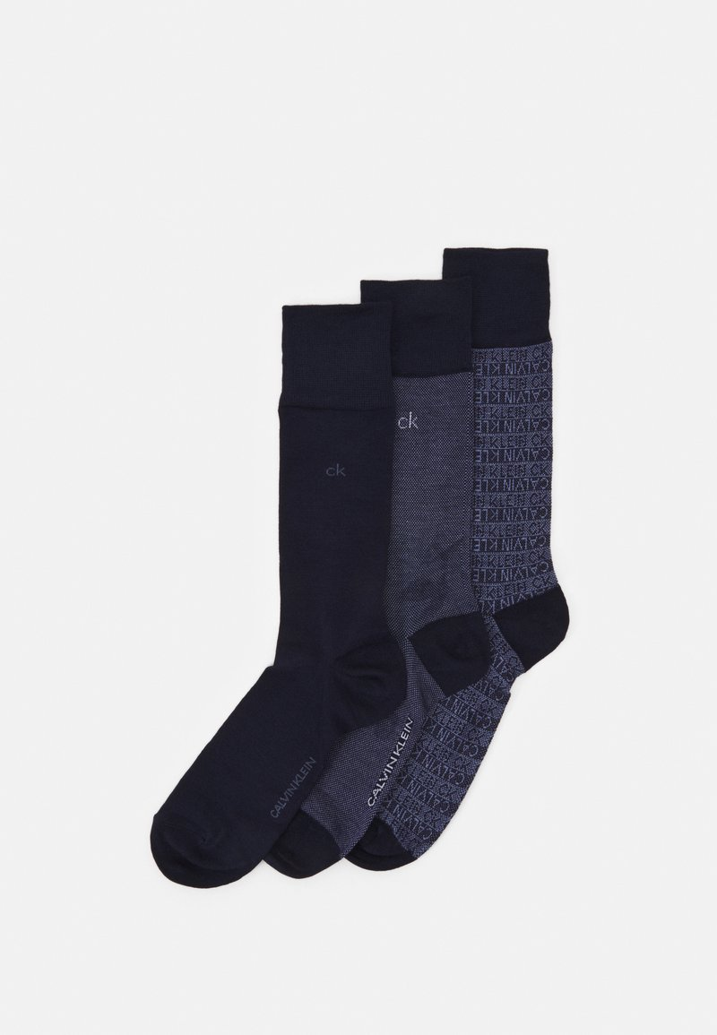 Calvin Klein Underwear - MEN CREW DRESS LOGO GIFTBOX ENSLEY 3 PACK - Chaussettes - dark blue