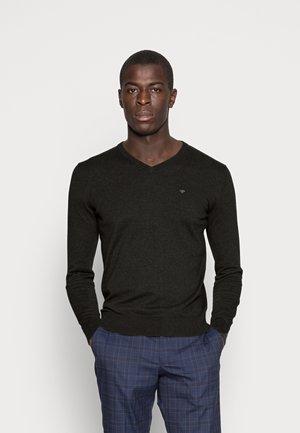 Stickad tröja - black/ grey melange