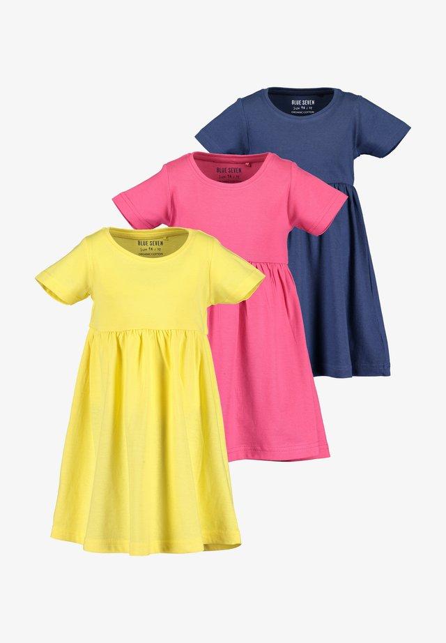 3 PACK - Korte jurk -  stroh pink dark blau