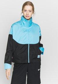 Nike Performance - NBA MIAMI HEAT CITY EDITION WOMENS SNAP JACKET - Training jacket - blue gale /black /laser fuchsia - 0