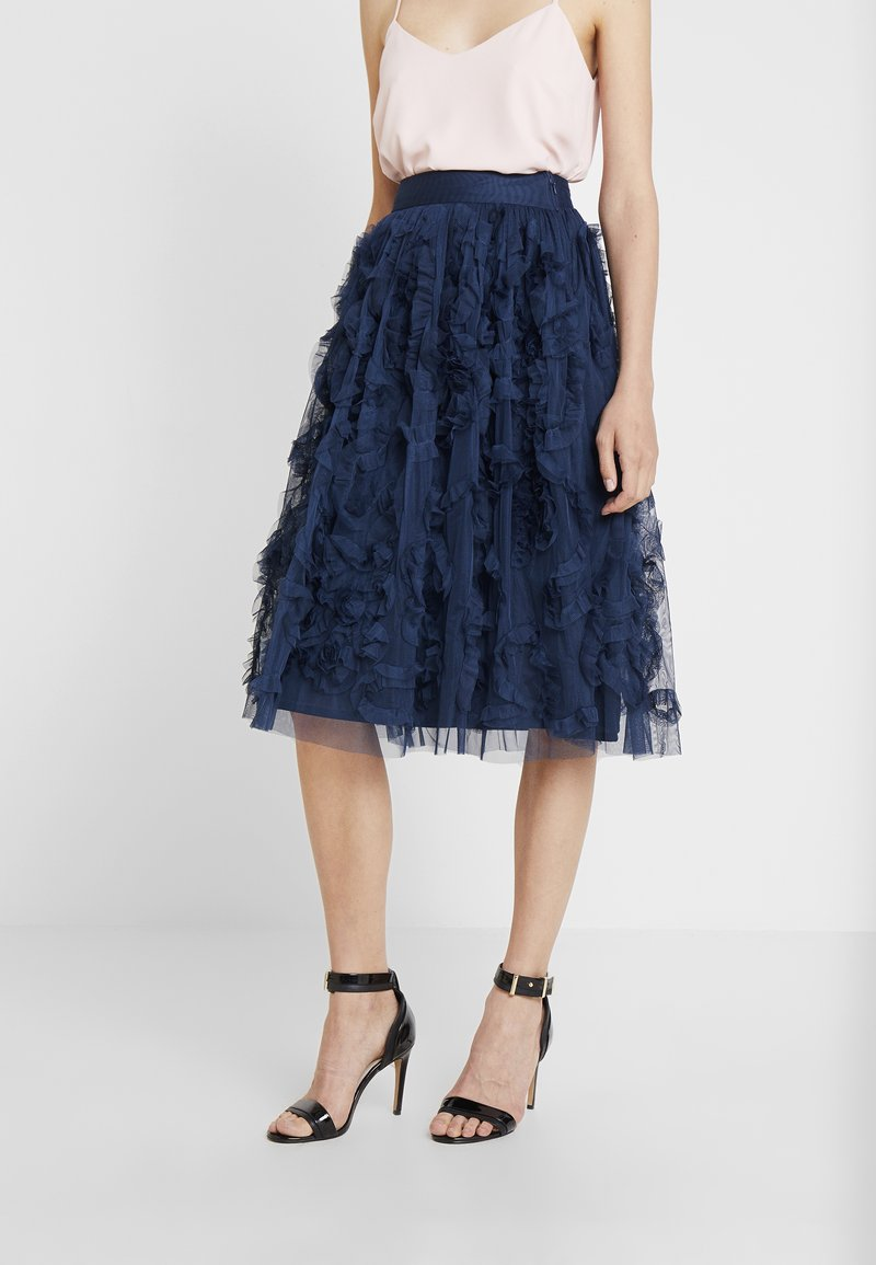 Lace & Beads - RUFFLE MIDI SKIRT - A-linjekjol - dark blue