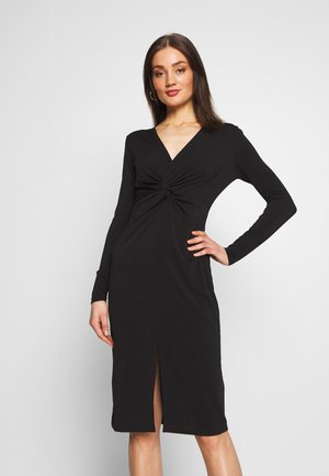 KNOT FRONT LONG SLEEVE BODYCON DRESS - Sukienka etui - black