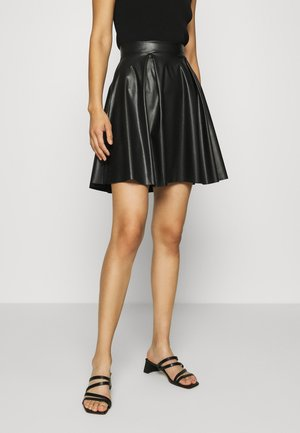Fake Leather mini A-line skirt - Minijupe - black