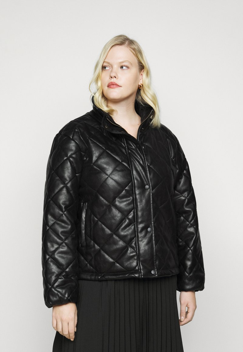 Glamorous Curve - QUILTED JACKET WITH BUTTON DETAIL - Light jacket - black