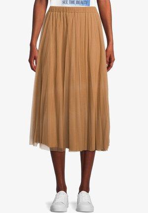 MIT ELASTISCHEM BUND - Pleated skirt - tobacco brown