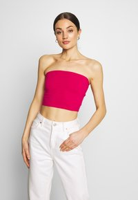 Glamorous - BANDEAU CROP TUBE 2 PACK - Topper - white/cerise pink - 2
