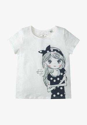 MIT GLITZER MOTIV - Print T-shirt - snow white|white