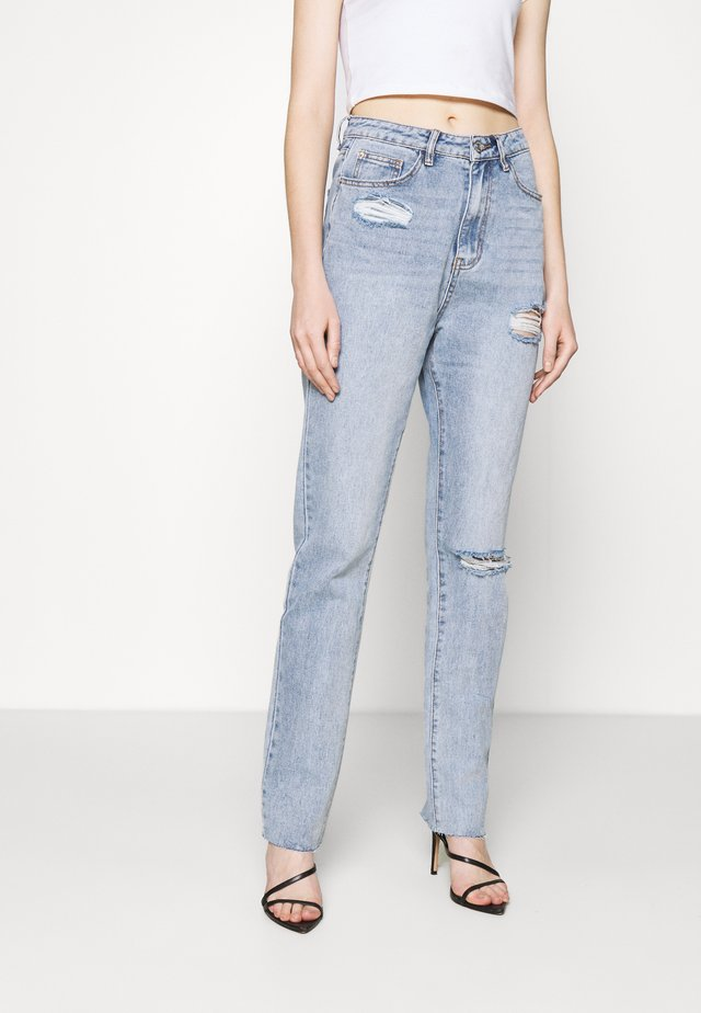 HIGH WAISTED SLASH - Jean droit - blue