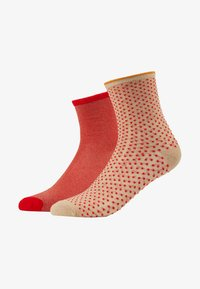 Becksöndergaard - DINA SOLID DINA SMALL DOTS 2 PACK - Socks - red love - 1