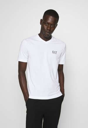 V NECK - T-shirt con stampa - white