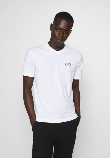 V NECK - Print T-shirt - white