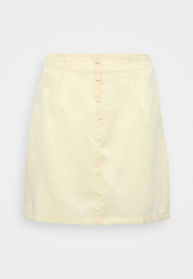 BUTTON THROUGH MINI SKIRT - Gonna a campana - yellow