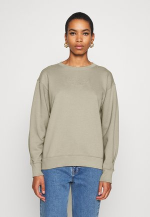 EMBOSSED LOGO PUFF SLEEVE CREW - Sweater - olive/grey