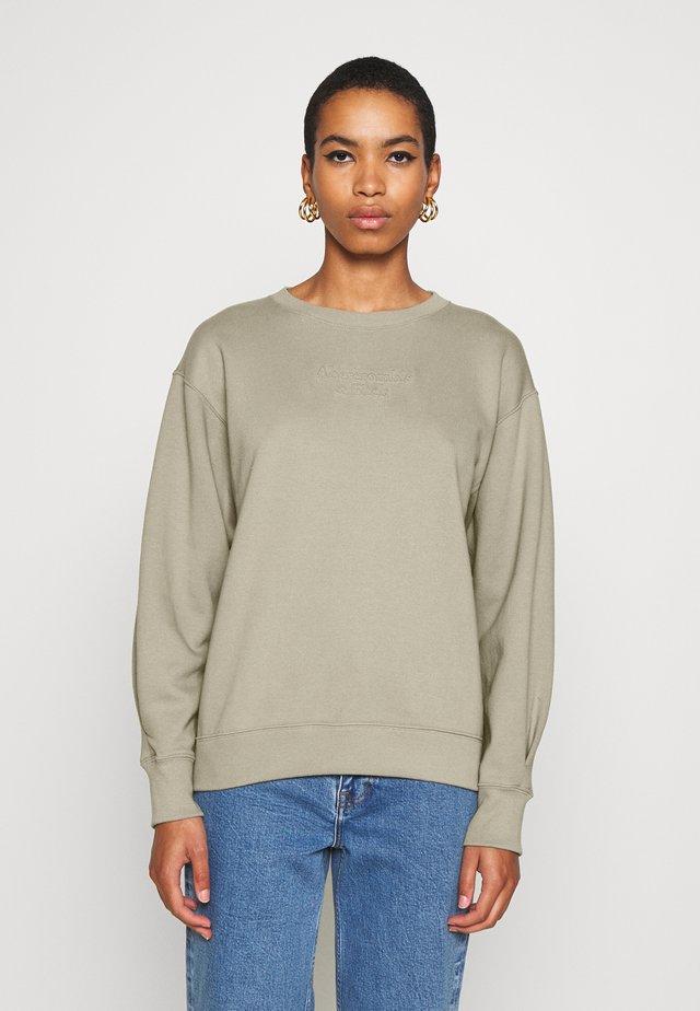 EMBOSSED LOGO PUFF SLEEVE CREW - Sweatshirt - olive/grey