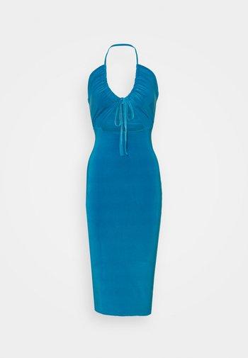 HALTER NECK CHANNEL CUT OUT - Jersey dress - blue