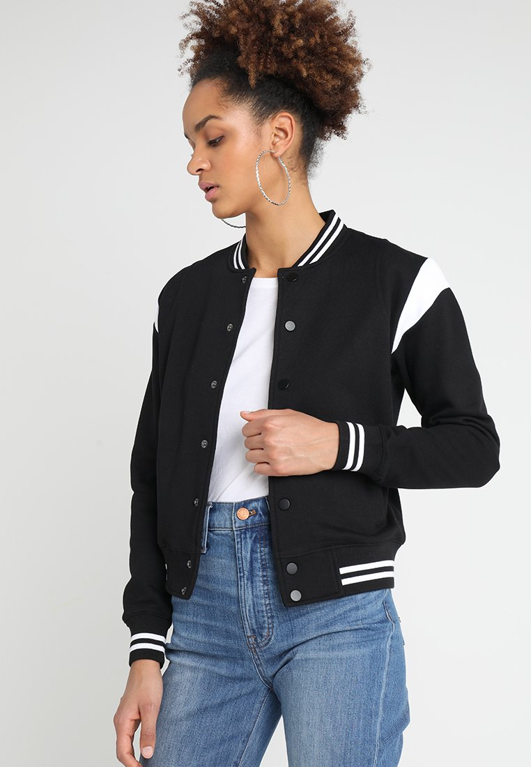 Urban Classics - LADIES INSET COLLEGE JACKET - Mikina na zip - black/white