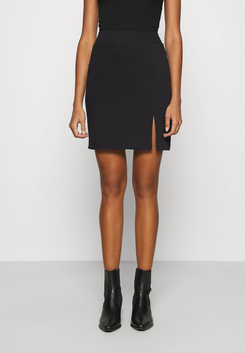 Noisy May - NMBALE SLIT SKIRT - Mini skirt - black