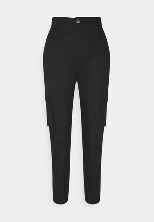 PLAIN CARGO TROUSER - Tygbyxor - black